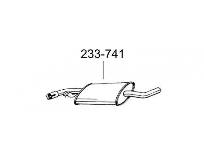 Глушитель предений Фольксваген Каравелле Т4, Мультиван Т4, Транспортер Т4 (Volkswagen Caravelle T4, Multivan T4, Transporter T4) 90-03 (233-741) Bosal 30.210 алюминизированный
