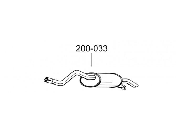 Глушитель Рено Клио II, Символ, Талия (Renault Clio II, Symbol, Thalia) 00-14 (200-033) Bosal 21.289 алюминизированный