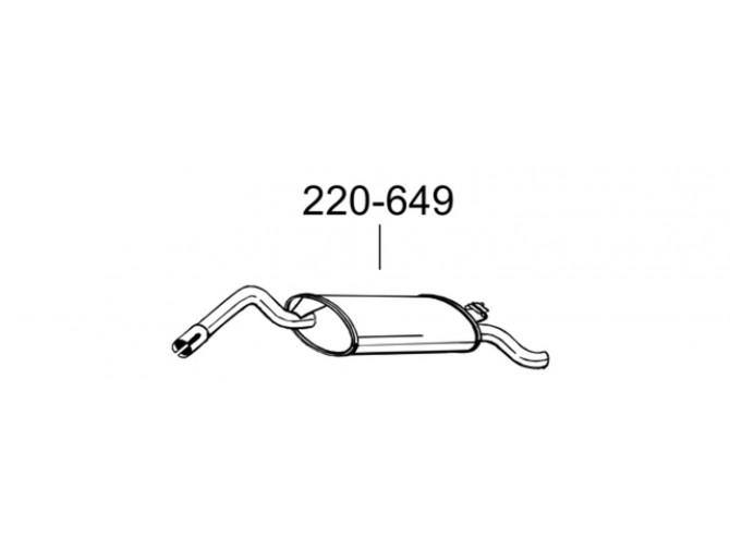 Глушитель Шкода Фаворит (Skoda Favorit) 89-91 (220-649) Bosal 24.05 алюминизированный