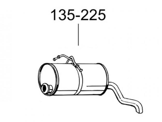 Глушитель Ситроен Берлинго (Citroen Berlingo) / Пежо Партнер (Peugeot Partner) 1.8D; 1.9D 96 (135-225) Bosal 04.232 алюминизированный