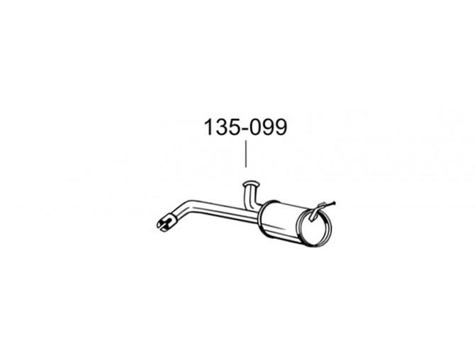 Глушитель Ситроен Джампи (Citroen Jumpy)/Фиат Скудо (Fiat Scudo)/Пежо Эксперт (Peugeot Expert) 06-16 (135-099) Bosal 19.108 алюминизированный