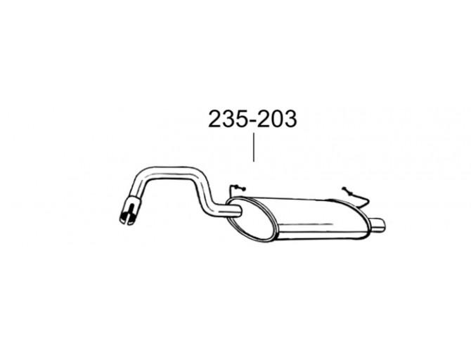 Глушитель Вольво 400 Серия (Volvo 400 Series) 88-97 (235-203) Bosal 31.52 алюминизированный