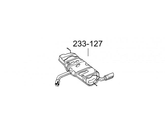 Глушитель задний Ауди А3 (AUDI A3) Sportback 04-/ Фольксваген Гольф VI (Volkswagen Golf VI) 1.2 09-12 (233-127) Bosal 01.121 алюминизированный