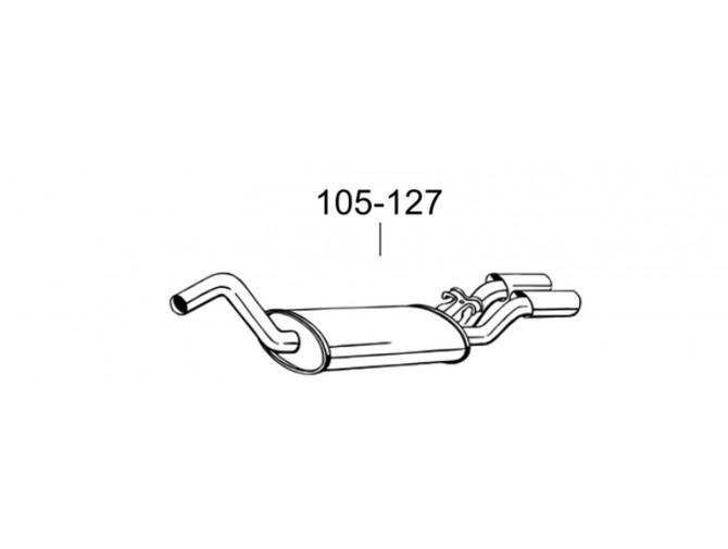 Глушитель задний Ауди Кабрио (Audi Cabrio) 92-00 (105-127) Bosal алюминизированный