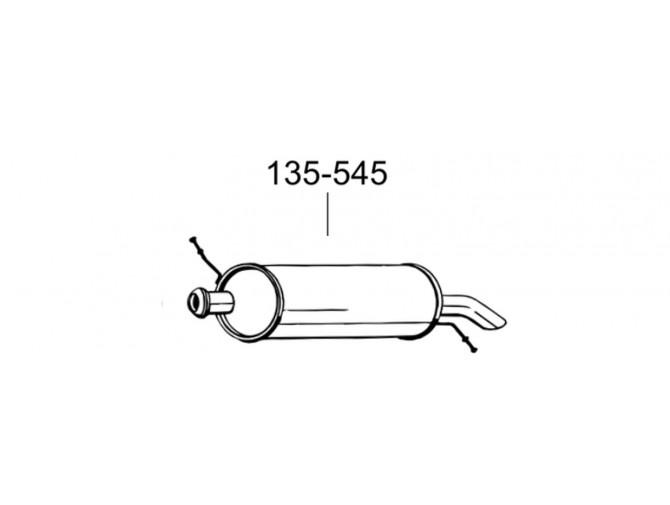 Глушитель задний Ситроен С5 (Citroen C5) 2.0 HDi TD combi HB 09/00 -08/02 (135-545) Bosal 04.264 Алюминизированный