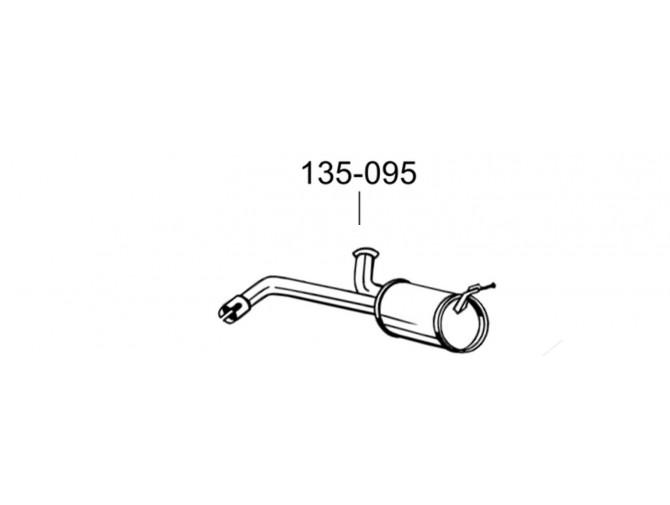 Глушитель задний Ситроен Джампи (Citroen Jumpy) 06- (135-095) Bosal алюминизированный