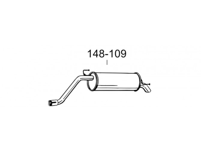 Глушитель задний Фиат Гранде Пунто (Fiat Grande Punto) 05- (148-109) Bosal 07.433 Алюминизированный