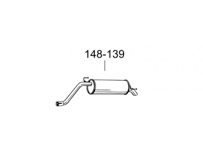Глушитель задний Фіат Гранде Пунто (Fiat Grande Punto) 1.4, 05- (148-139) Bosal 07.435 Алюмінізірованний