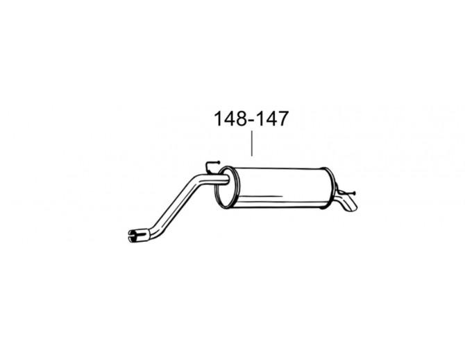 Глушитель задний Фиат Гранде Пунто (Fiat Grande Punto) 1.4 05-08 (148-147) Bosal 07.441 алюминизированный