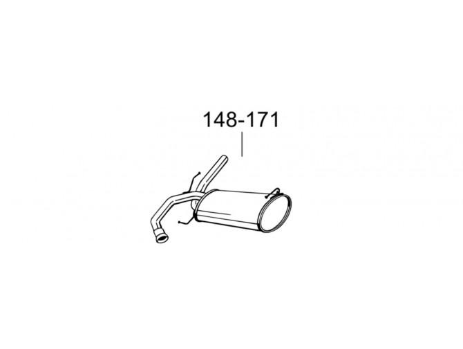 Глушитель задний Фіат Седічі (Fiat Sedici) 05- /Сузуки SX4 (Suzuki SX4) 1.5/1.6 (148-171) Bosal 25.14 алюминизированный
