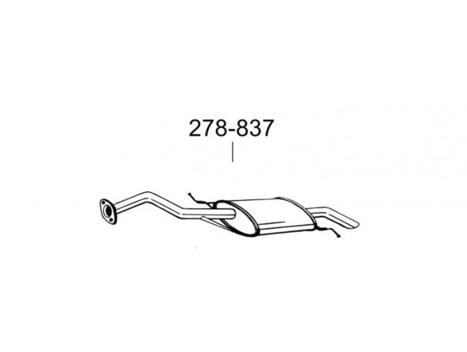 Глушитель задний Мазда Демио (Mazda Demio) 98-01(278-837) Bosal алюминизированный
