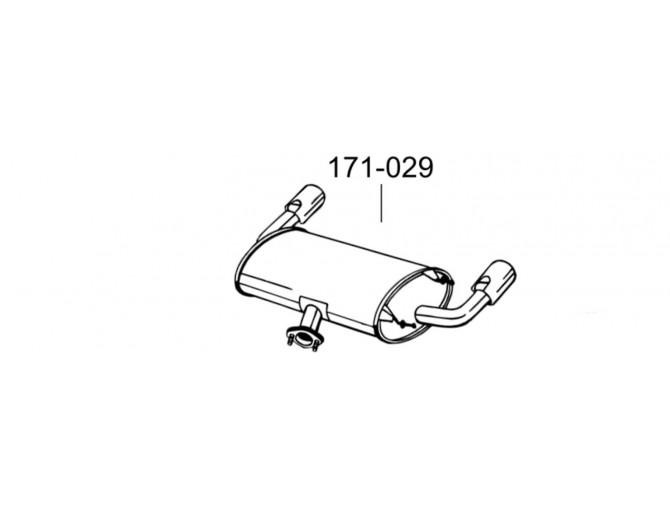 Глушитель задний Мазда МХ5 (Mazda MX5) 05- (171-029) Bosal алюминизированный