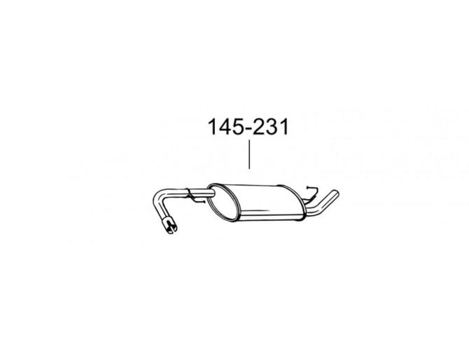 Глушитель задний Ниссан Патфайндер (Nissan Pathfinder) (145-231) Bosal алюминизированный