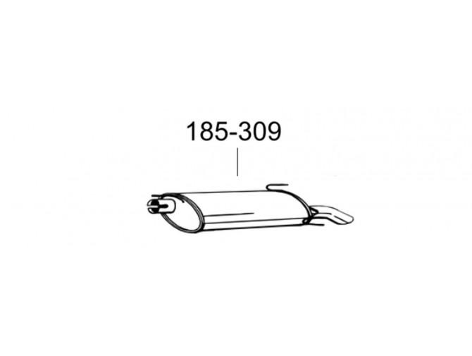 Глушитель задний Опель Астра Ф (Opel Astra F) 1.4i 96-98 hatchback/cabrio (185-309) Bosal 17.58 алюминизированный