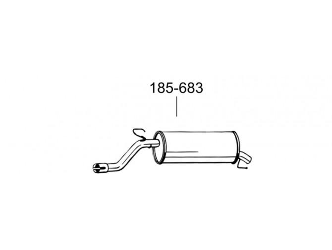 Глушитель задний Опель Корса Д (Opel Corsa D) 06- (185-683) Bosal 07.441 алюминизированный