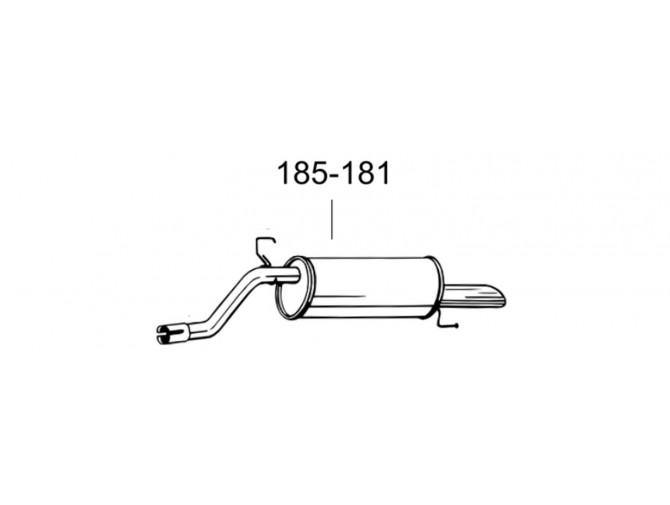 Глушитель задний Опель Корса Д (Opel Corsa D) 06-09 (185-181) Bosal алюминизированный