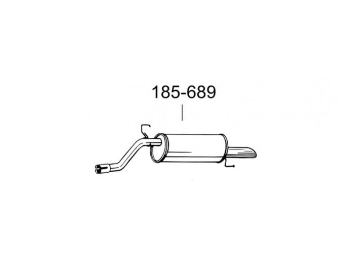 Глушитель задний Опель Корса Д (Opel Corsa D) 06- (185-689) Bosal алюминизированный