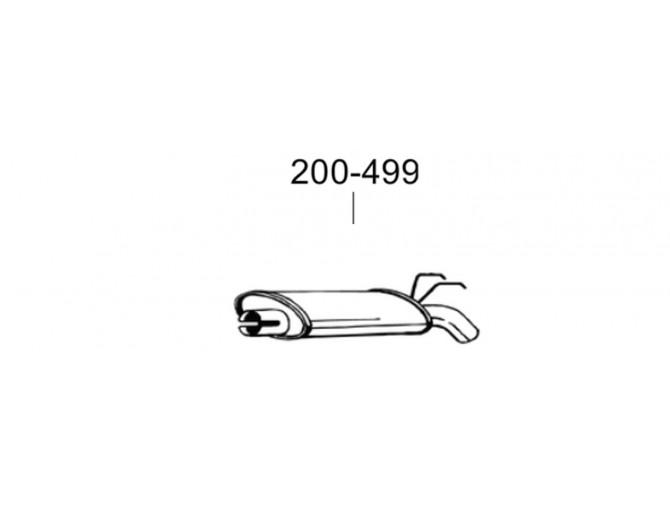 Глушитель задний Рено Еспейс (Renault Espace) 2.0; 2.1TD; 2.2; 2.9 -6V 91-96 (200-499) Bosal 21.54 алюминизированный
