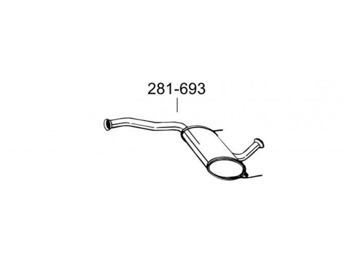 Глушитель задний Рено Лагуна (Renault Laguna) 1.6-1.8 16V 98-01 (281-693) Bosal 21.263 алюминизированный