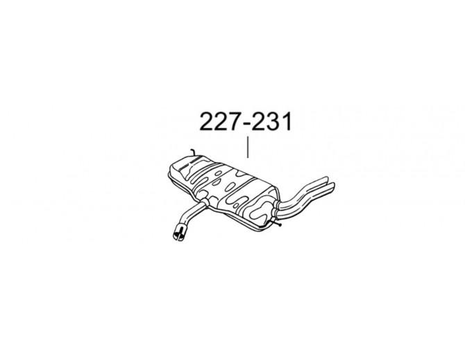 Глушитель задний Сеат Алтея (Seat Altea) 04-05 (227-231) Bosal алюминизированный