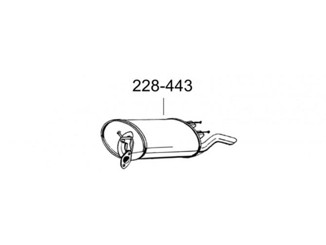 Глушитель задний Тойота Королла (Toyota Corolla) 1.3i -16V 92-97 (228-443) Bosal 26.114 алюминизированный