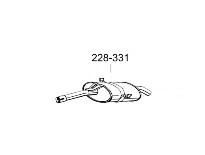 Глушитель задний Тойота Пікнік (Toyota Picnik) 2.0 96-10 (228-331) Bosal 26.278 алюминизированный