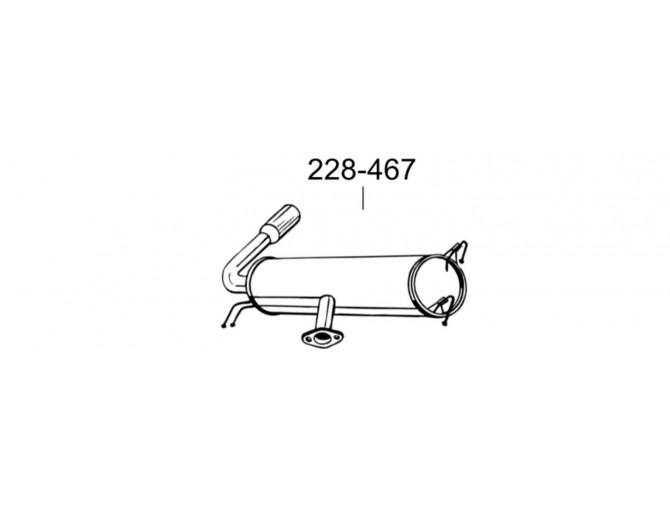 Глушитель задний Тойота РАВ4 (Toyota RAV4) 2.0/2.0 D 00-03 (228-467) Bosal 26.202 алюминизированный