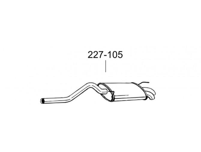 Глушитель задний Сеат Инка (Seat Inca)/Фольксваген Кадди (Volkswagen Caddy) 1.9 SDi 95-04 KAT (227-105) Bosal 30.243 алюминизированный