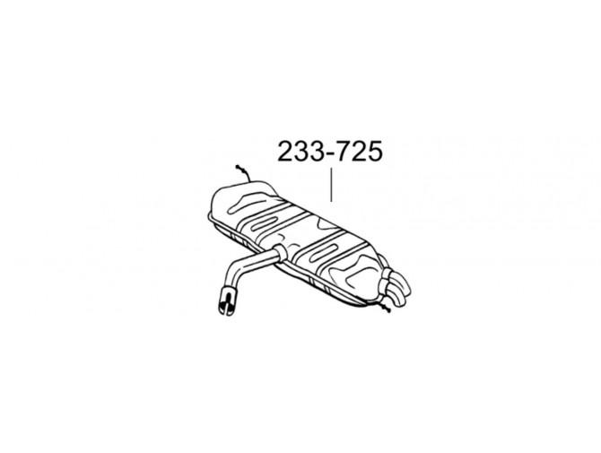Глушитель задний Фольксваген Гольф V (Volkswagen Golf V) 1.9 TDi (233-725) Bosal 30.615 алюминизированный
