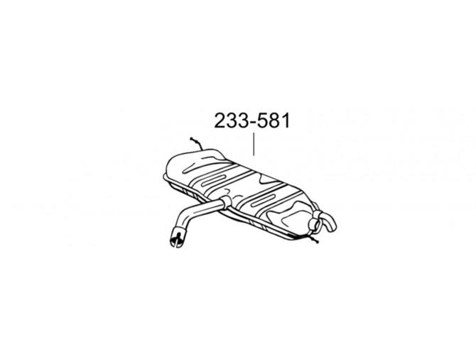 Глушитель задний Фольксваген Тоуран (Volkswagen Touran) 1.6I 03-05 (233-581) Bosal 30.150 алюминизированный
