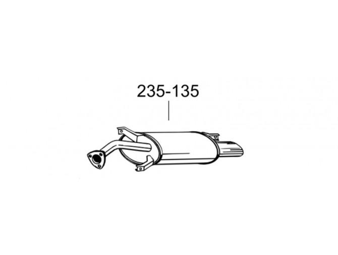Глушитель задний Вольво С40 (Volvo S40) 97-00 (235-135) Bosal алминизированный