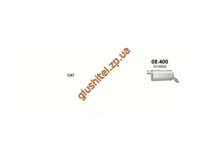 Глушитель Форд Галакси (Ford Galaxy) 1.8 T/2.8 T00-06, Фольксваген Шаран (Volkswagen Sharan) (08.400) Polmostrow алюминизированный