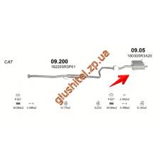 Глушитель Хонда Цивик (Honda Civic) 92-96 1.5i 16V 3D kat (09.05) Polmostrow алюминизированный