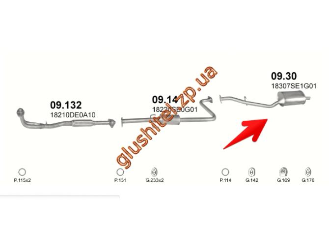 Глушитель Хонда Аккорд (Honda Accord) 2.0 Aero Deck 12V 86-89 (09.30) Polmostrow алюминизированный