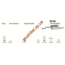 Глушитель Хонда Цивик (Honda Civic) 92- SDN (09.66) Polmostrow алюминизированный