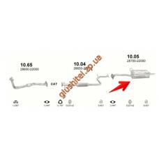 Глушитель Хюндай Акцент (Hyundai Accent) / Хюндай Ексель (Hyundai Excel) 94-99 1.5i (10.05) Polmostrow алюминизированный