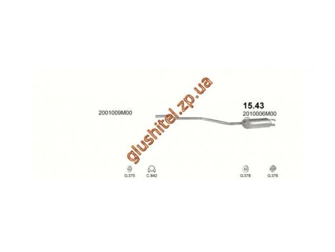 Глушитель Ниссан Чери (Nissan Cherry) 82-86 1.3 (15.43) Polmostrow алюминизированный