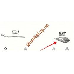 Глушитель Опель Астра Х (Opel Astra H) 1.8i 16V 03/04- (17.307) Polmostrow алюминизированный