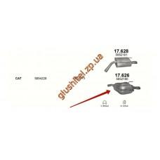 Глушитель Опель Вектра С (Opel Vectra C) 2.2 16V 01/04- (17.626) Polmostrow алюминизированный