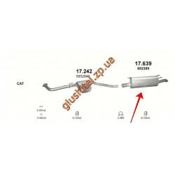Глушитель Опель Омега Б (Opel Omega B) 2.0 DTi / 2.2 DTi / 2.5 DTi 97 - 03 (17.639) Polmostrow алюминизированный