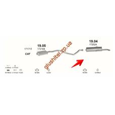 Глушитель Пежо 405 (Peugeot 405) 1.4/1.6 kat 87-96 (19.04) Polmostrow алюминизированный