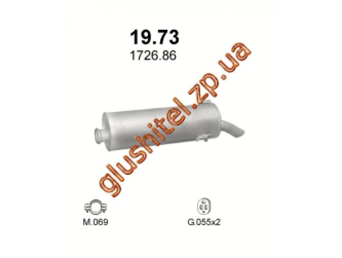 Глушитель Пежо 306 (Peugeot 306) 1.9 TD 2.0 HDi 93-02 (19.73) Polmostrow алюминизированный