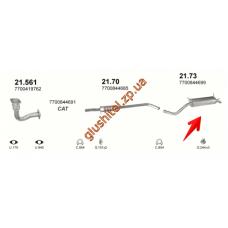 Глушитель Рено Меган / Рено Сценик I (Renault Megane / Renault Scenic I) 2.0i kat 16V (21.73) Polmostrow алюминизированный