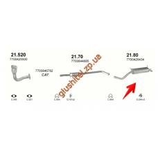 Глушитель Рено Меган, Сценик (Renault Megane , Scenic) 1.9 TD 96-02 (21.80) Polmostrow алюминизированный