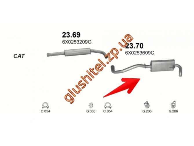Глушитель Сеат Ароса (Seat Arosa) 1.4 TDi,  1.7 SDI, Фольксваген Лупо (Volkswagen Lupo) 1.4 TDi, 1.7 SDI 97-05 (23.70) Polmostrow алюминизированный