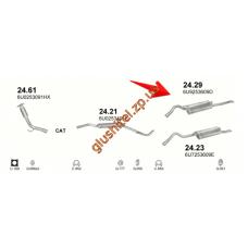 Глушитель Шкода Фелиция (Skoda Felicia) 1.9D kombi  94 -01 (24.29) Polmostrow алюминизированный