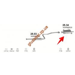 Глушитель Сузуки Свифт (Suzuki Swift) 1.3 89 - 00 (25.34) Polmostrow алюминизированный