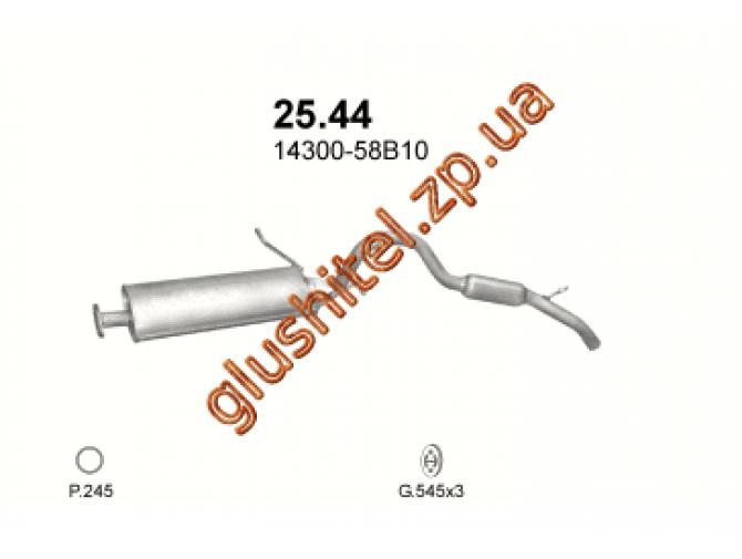 Глушитель Сузуки Витара (Suzuki Vitara) 1.6i 4x4 95-97 (25.44) Polmostrow алюминизированный