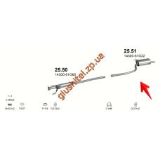 Глушитель Сузуки Балено (Suzuki Baleno) 1.3i / 1.6i 16V 95-00 (25.51) Polmostrow алюминизированный