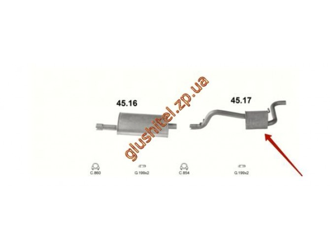 Глушитель Крайслер Вояджер (Chrysler Voyager) 3.3iLE 4x4 AWD 6V  92- (45.17) Polmostrow алюминизированный